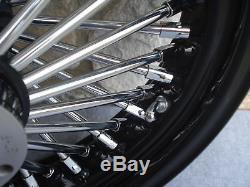 16 Black Fat 48 Spoke Rear Wheel Harley Flt Road Street Glide Touring 2002-07
