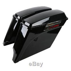 5 Stretched Extended Hard Saddle Bags For Harley Street Glide Road King 93-13
