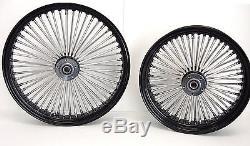 BLACK MAMMOTH FAT SPOKE WHEELS HARLEY 21x3.0 & 18x5.5 DYNA STREET BOB OR SOFTAIL