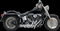 Bassani Chrome 2-2 Pro Street Exhaust for 86-17 Harley Softail FXST FXS FLSTN