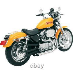 Bassani Chrome Pro Street Slash Cut Exhaust Harley XL with Forward Controls 86-03