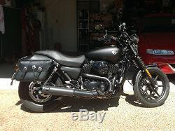 Black Motorcycle Saddlebags Throwover Harley Davidson Dyna Street 500 PREORDER