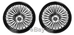 Fat Spoke 16 Front/rear Wheel Set Black Harley Electra Glide Road King Street