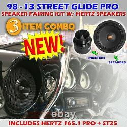 For 1998 13 Harley Street Glide Pro Speaker Fairing Kit + Hertz Sv165.1 + St25