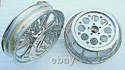 HARLEY CHROME 9 SPKE WHEELS STREET GLIDE TURING WithROTORS PULLEY 00-08 OUTRIGHT