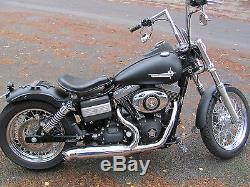 Harley Davidson Street Bob Dyna Twin Cam Auspuff mit Krümmer Edelstahl poliert