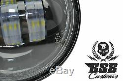 LED Zusatzscheinwerfer, schwarz, Harley Davidson, 4,5 Zoll, Dyna, Street Glide