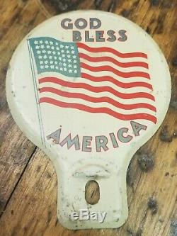 Original 1940s Accessory License Plate CAR Topper US FLAG GM Ford Chevy rat hot
