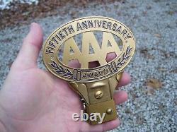 Original 1950s AAA nos auto emblem badge vintage scta GM Ford Chevy plate topper