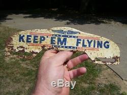 Original vintage 1940s WW2 Keep EM FLYING license plate topper auto emblem badge