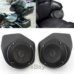 Pair Tour Pak Rear Trunk Pod Speaker Pods For Harley Touring Street Glide 14-up