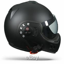ROOF Boxer V8 Full Black Solid Matt Harley Davidson Custom Street Helmet New