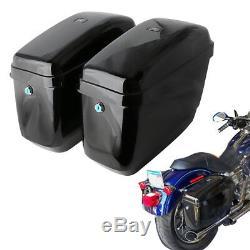 Seitenkoffer Gepäck Hard Taschen für Harley Dyna Street Bob Suzuki Honda Schwarz