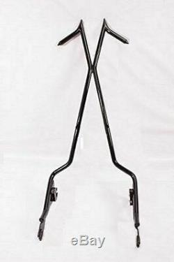 Tall Backrest Sissy Bar Black 4 Harley Touring Road King Street Glide Ultra Fl